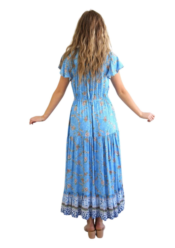 St Martinez Boho Maxi dress in Blue