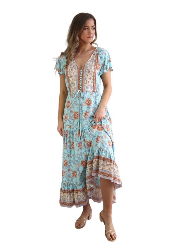 St Martinez Boho Maxi dress in Blue and Amber  Frangipani Living frangipani-living2.myshopify.com