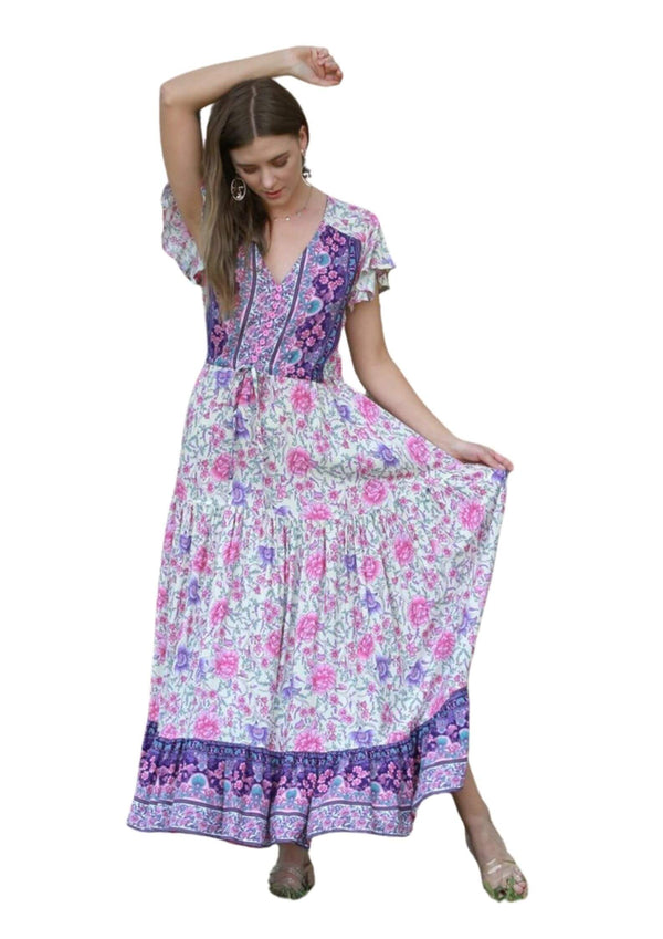 St Martinez Boho Maxi dress in Purple and Pink  Frangipani Living frangipani-living2.myshopify.com