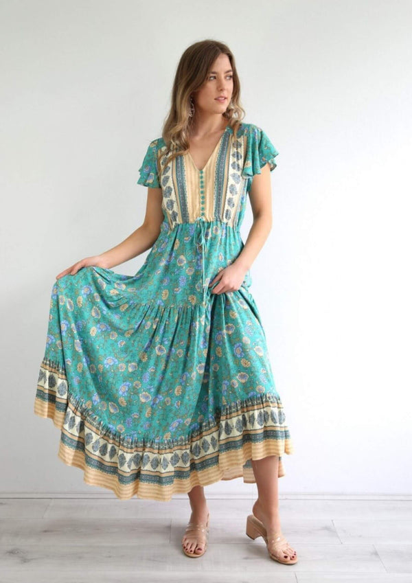 St Martinez Boho Maxi dress in Emerald