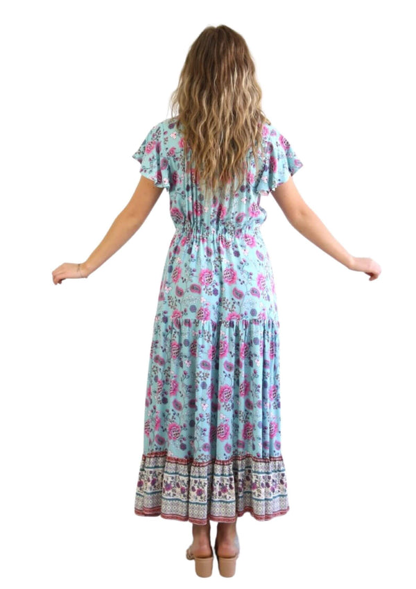 St Martinez Boho Maxi dress in Turquoise