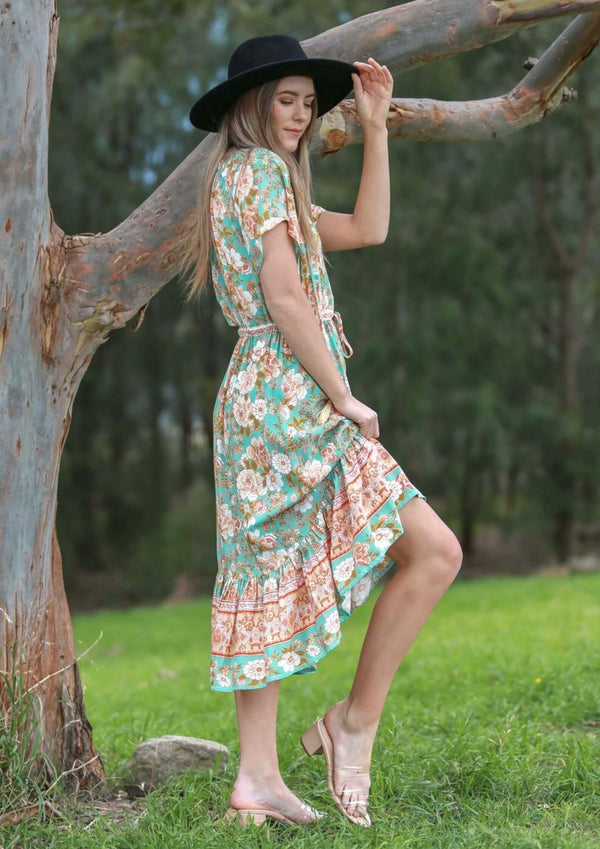 St Moritz Short Sleeve Boho Midi Dress in Sage  Frangipani Living frangipani-living2.myshopify.com