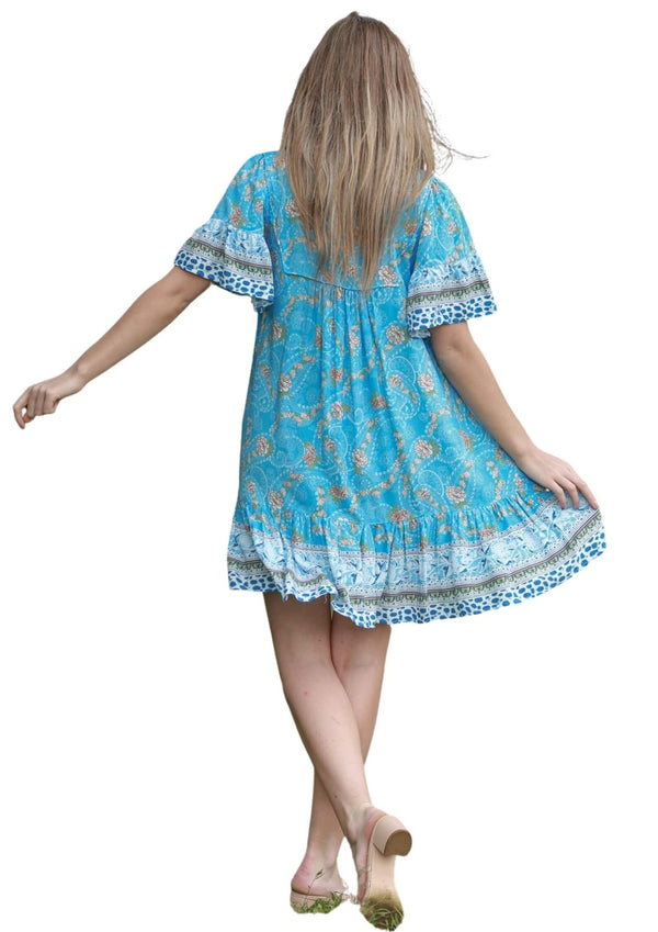 St Seychelles Boho Short Sleeve Dress in Blue  Frangipani Living frangipani-living2.myshopify.com