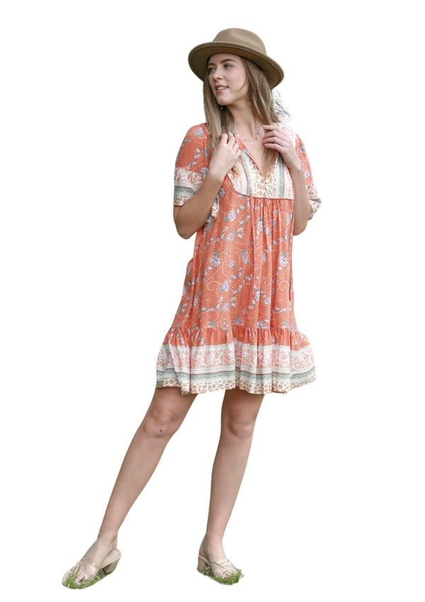 St Seychelles Boho Short Sleeve Dress in Rust  Frangipani Living frangipani-living2.myshopify.com
