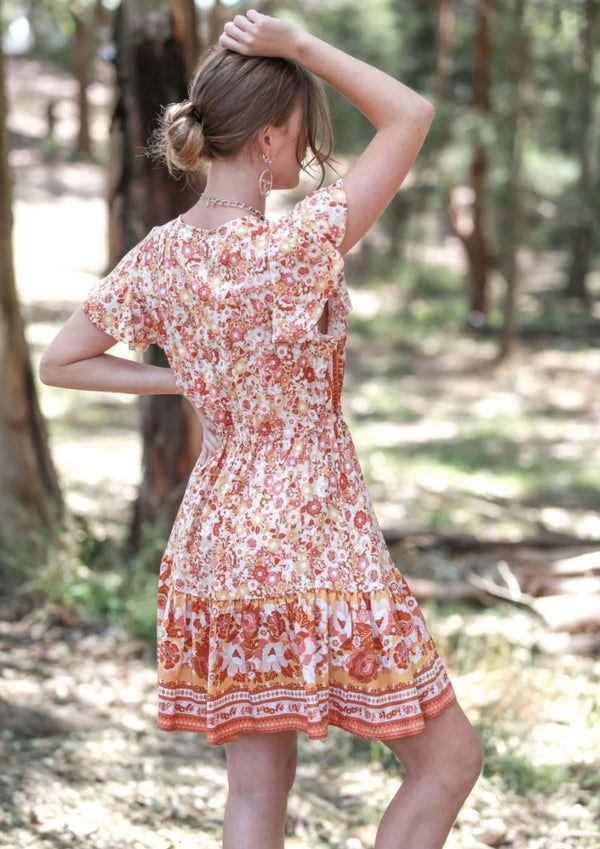 St Tropez Boho Short Sleeve Dress in Citrus