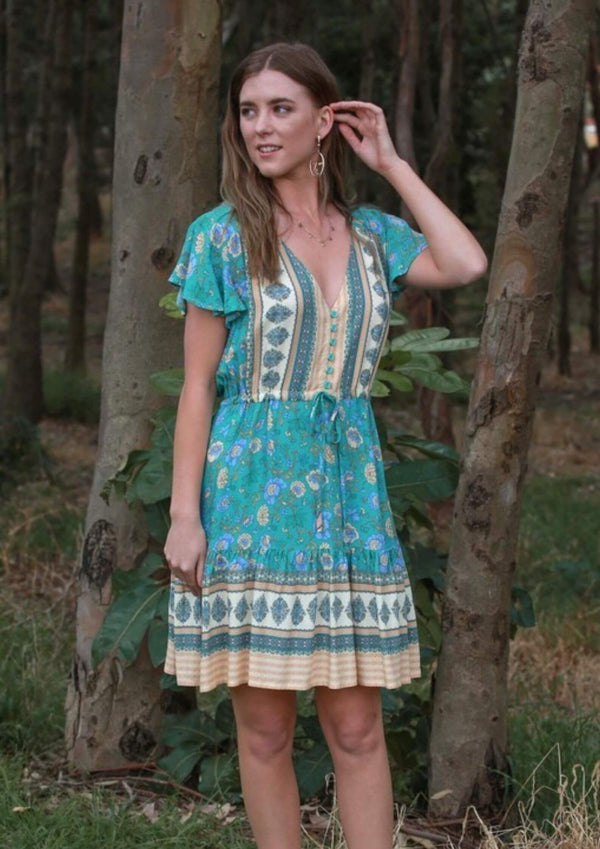St Tropez Boho Short Sleeve Dress in Emerald