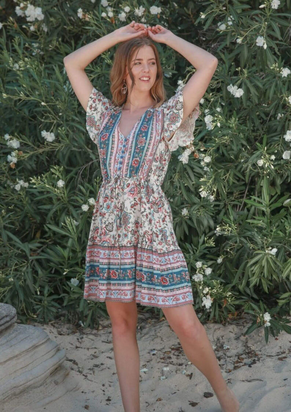 St Tropez Boho Short Sleeve Dress in Teal and Scarlet