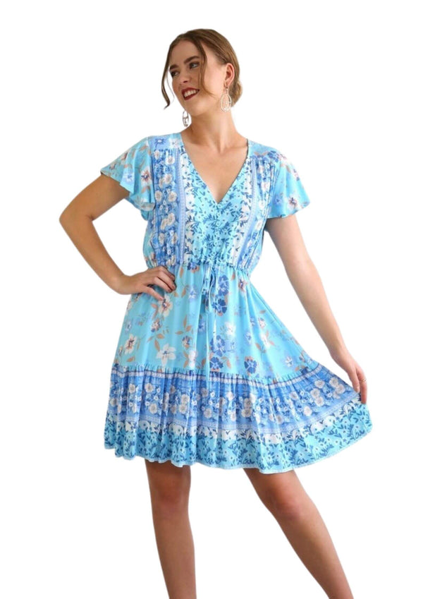 St Tropez Boho Short Sleeve Dress in Baby Blues  Frangipani Living frangipani-living2.myshopify.com