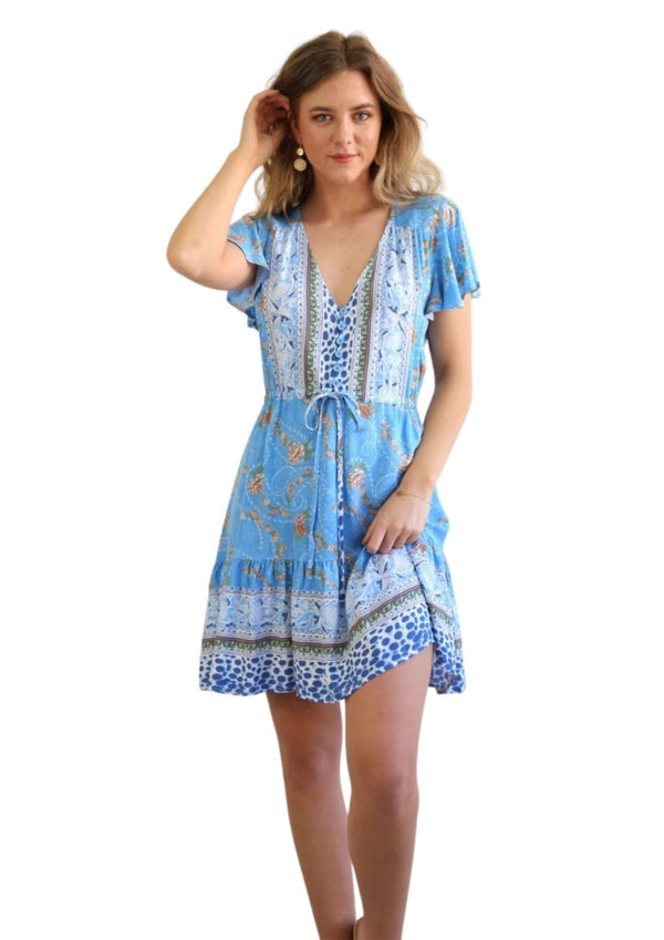 St Tropez Boho Short Sleeve Dress in Blue  Frangipani Living frangipani-living2.myshopify.com