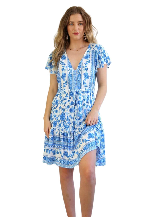 St Tropez Boho Short Sleeve Dress in Blue and White  Frangipani Living frangipani-living2.myshopify.com