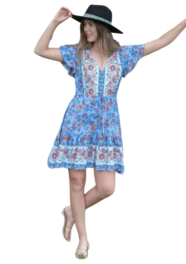 St Tropez Boho Short Sleeve Dress in Blues and Tangerine  Frangipani Living frangipani-living2.myshopify.com