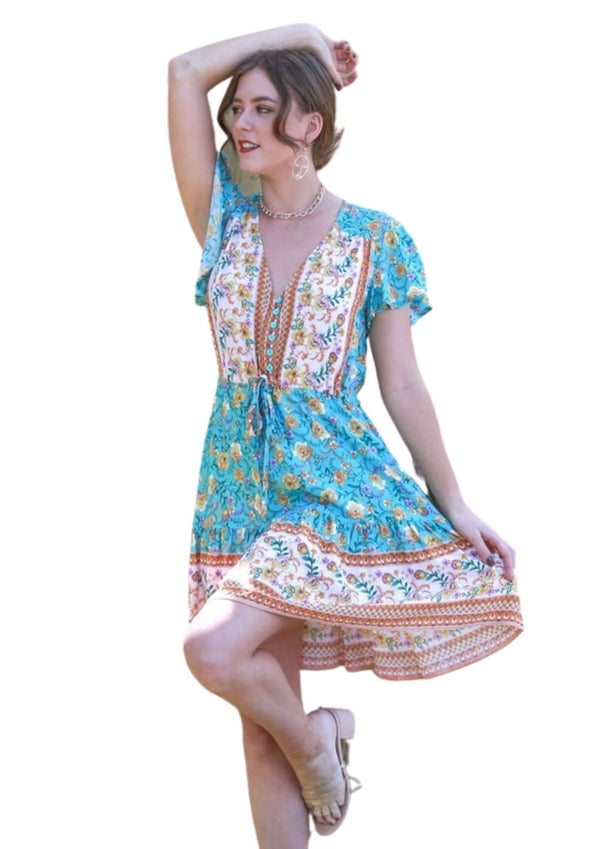 St Tropez Boho Short Sleeve Dress in Cassia Aqua  Frangipani Living frangipani-living2.myshopify.com
