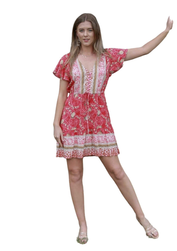 St Tropez Boho Short Sleeve Dress in Cherry