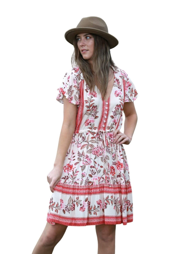 St Tropez Boho Short Sleeve Dress in Country Floral Red  Frangipani Living frangipani-living2.myshopify.com