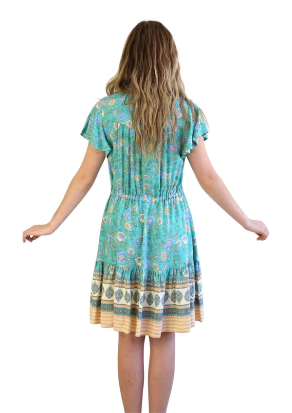 St Tropez Boho Short Sleeve Dress in Emerald  Frangipani Living frangipani-living2.myshopify.com