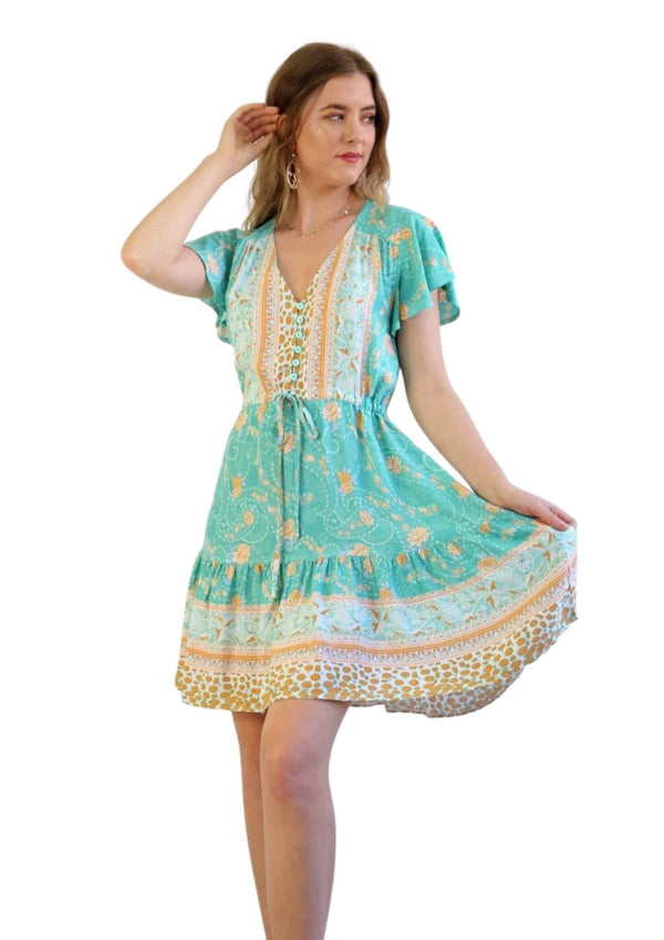 St Tropez Boho Short Sleeve Dress in Jade  Frangipani Living frangipani-living2.myshopify.com