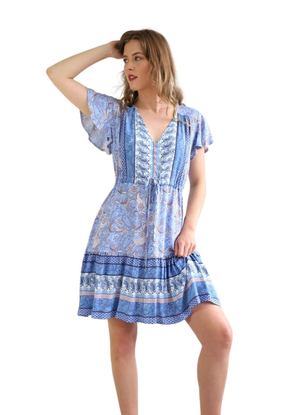 St Tropez Boho Short Sleeve Dress in Lavender Blue  Frangipani Living frangipani-living2.myshopify.com