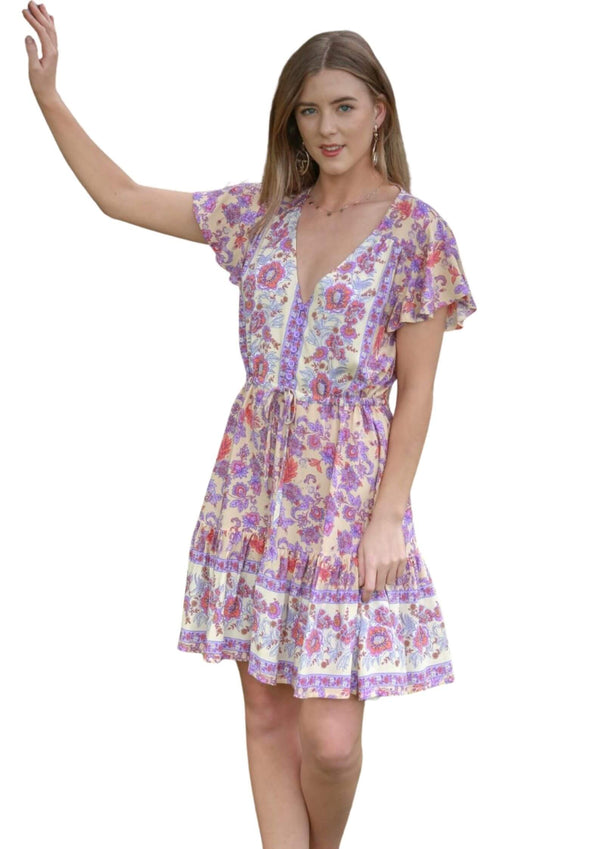 St Tropez Short Sleeve Dress in Lilac Cream  Frangipani Living frangipani-living2.myshopify.com