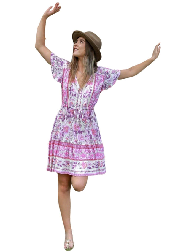 St Tropez Boho Short Sleeve Dress in Pink Peony  Frangipani Living frangipani-living2.myshopify.com