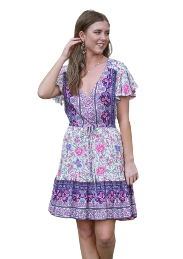 St Tropez Boho Short Sleeve Dress in Purple and Pink  Frangipani Living frangipani-living2.myshopify.com