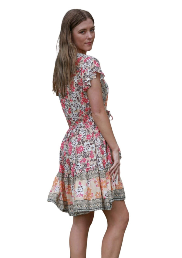 St Tropez Boho Short Sleeve Dress in Retro Cherry Amber  Frangipani Living frangipani-living2.myshopify.com