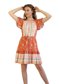 St Tropez Boho Short Sleeve Dress in Rust  Frangipani Living frangipani-living2.myshopify.com