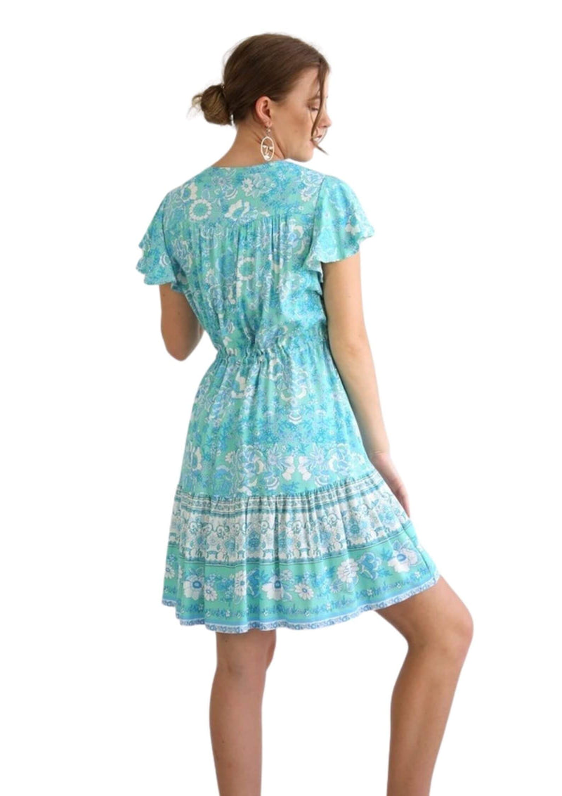 St Tropez Boho Short Sleeve Dress in Spearmint  Frangipani Living frangipani-living2.myshopify.com