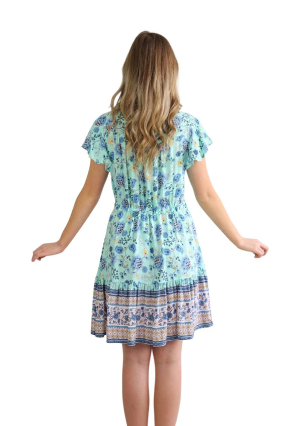 St Tropez Boho Short Sleeve Dress in Turquoise  Frangipani Living frangipani-living2.myshopify.com