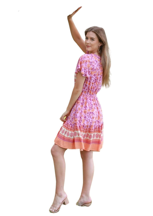 St Tropez Boho Short Sleeve Dress in Fuchsia