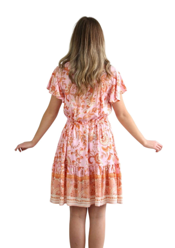 St Tropez Short Sleeve Dress in Peach