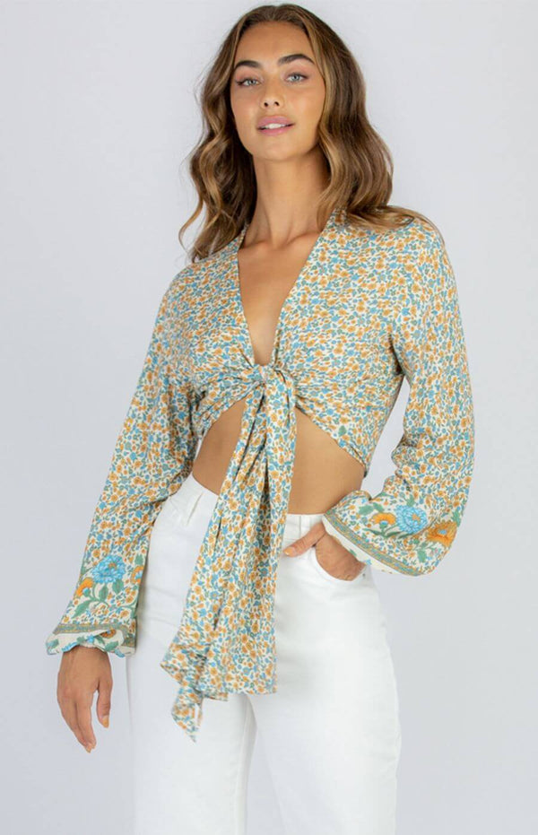 Star Tie Front Boho Top with Long Sleeves