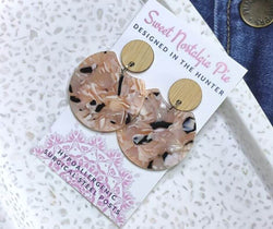 Sweet Nostalgia Pie Statement Drop Earrings in Blush and Black