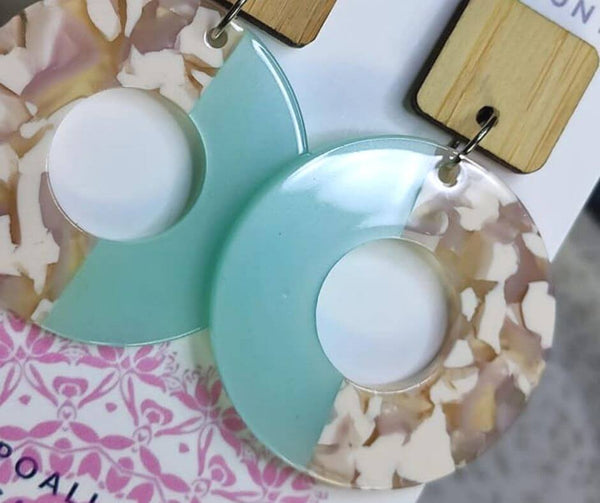Sweet Nostalgia Pie Statement Drop Earrings in Blush and Mint