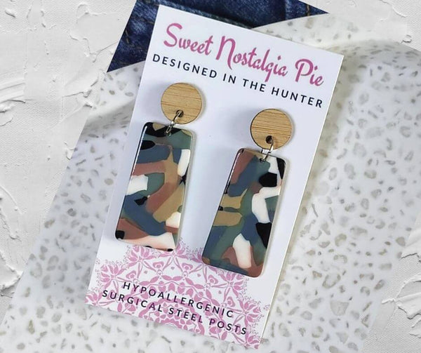 Sweet Nostalgia Pie Statement Drop Earrings in Grey Neutrals