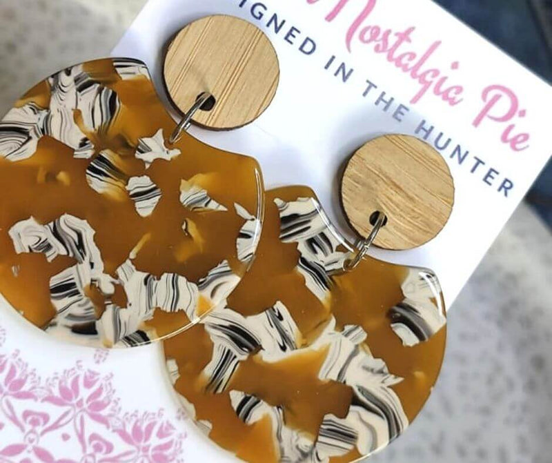 Sweet Nostalgia Pie Statement Drop Earrings in Mustard