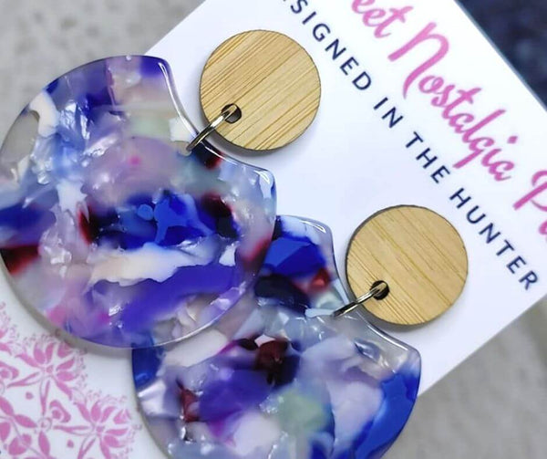 Sweet Nostalgia Pie Statement Drop Earrings in Purple