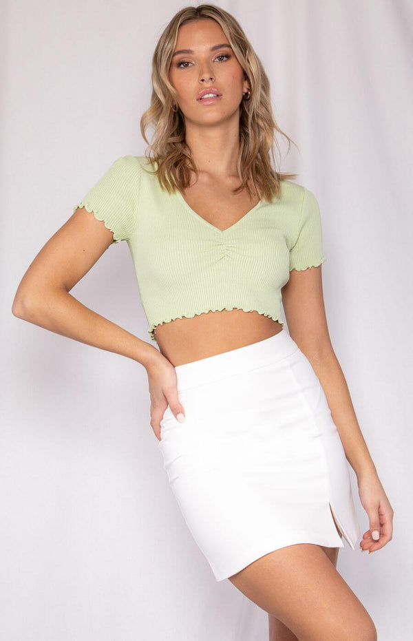 Taryn V Neck Crop Top in Lime