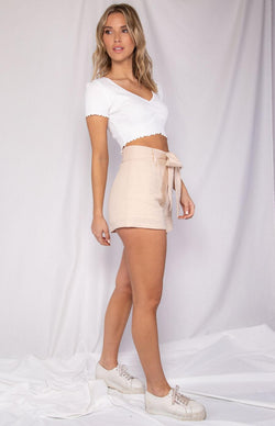 Taryn V Neck Crop Top in White
