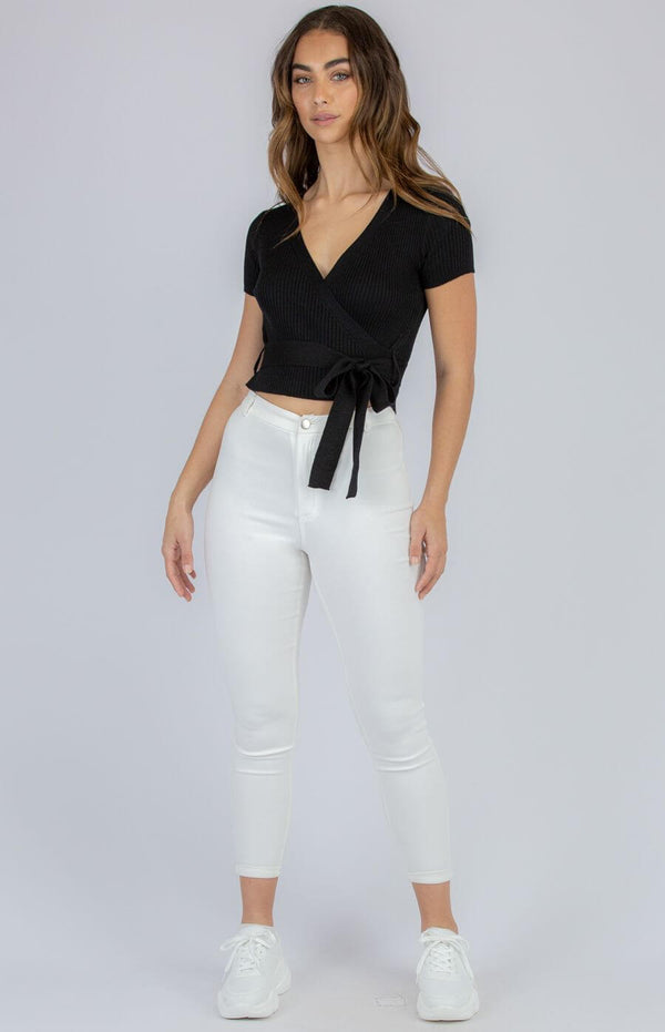 Taylor Faux Wrap Top in Black