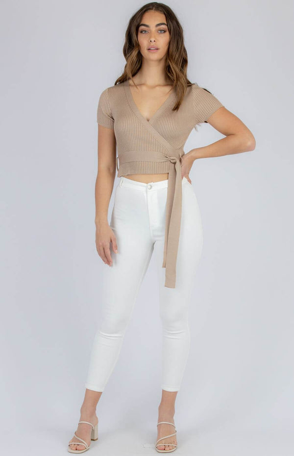 Taylor Faux Wrap Top in Camel