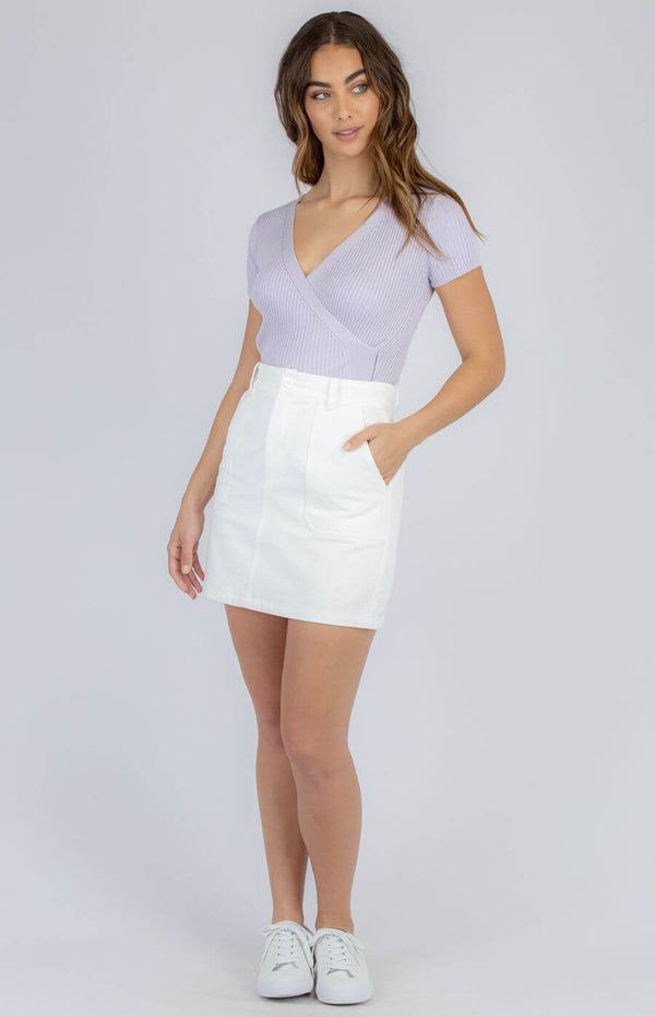 Taylor Faux Wrap Top in Lilac