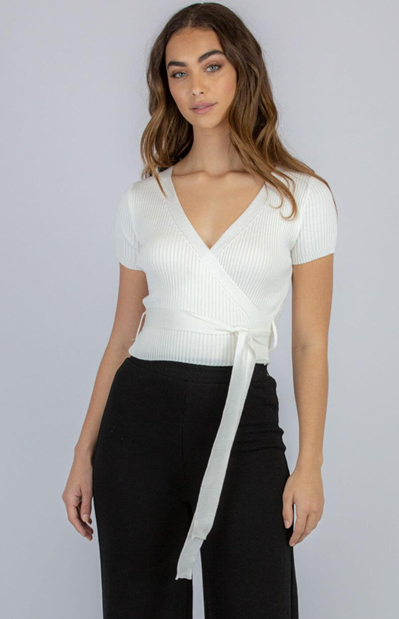 Taylor Faux Wrap Top in White  Frangipani Living frangipani-living2.myshopify.com