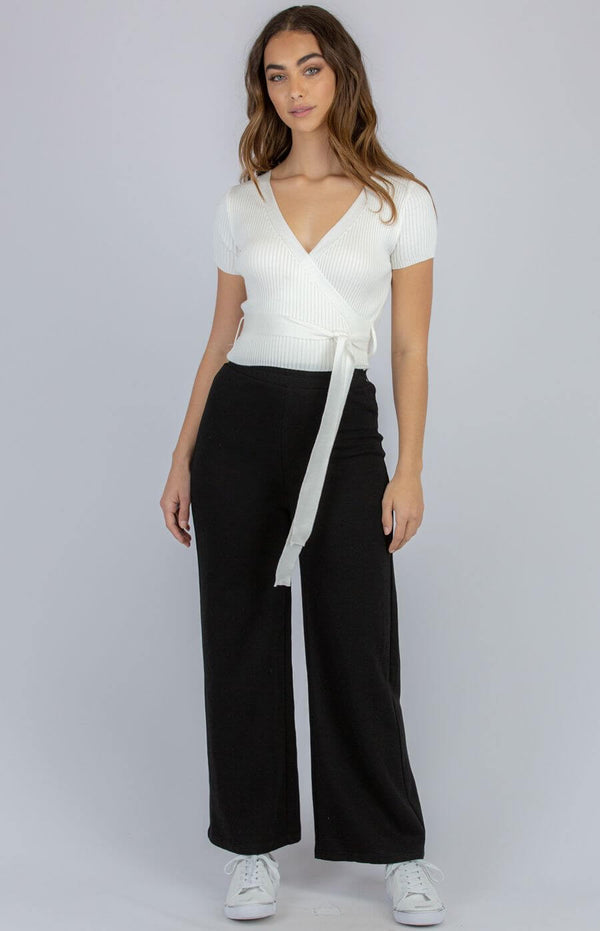 Taylor Faux Wrap Top in White