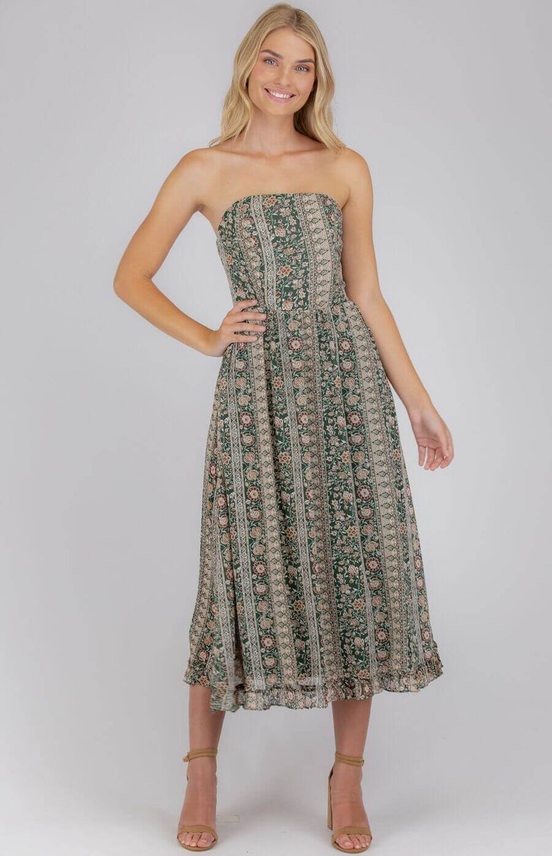 """Taylor"" Strapless Midi Dress with Optional Straps  Frangipani Living frangipani-living2.myshopify.com"