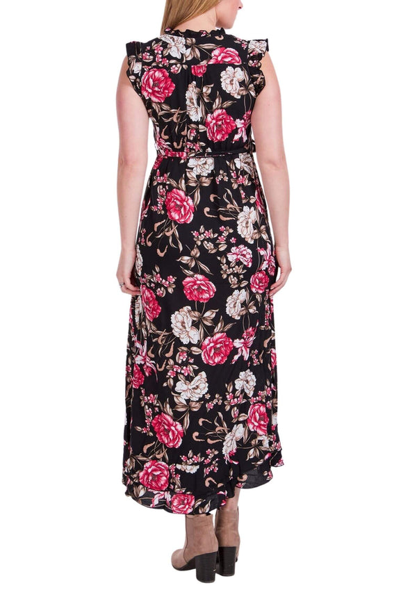 Trilly Maxi Dress in Black and Scarlet Print  Frangipani Living frangipani-living2.myshopify.com