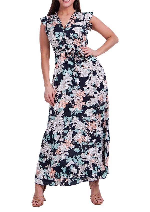 Trilly Maxi Dress in Navy Print  Frangipani Living frangipani-living2.myshopify.com