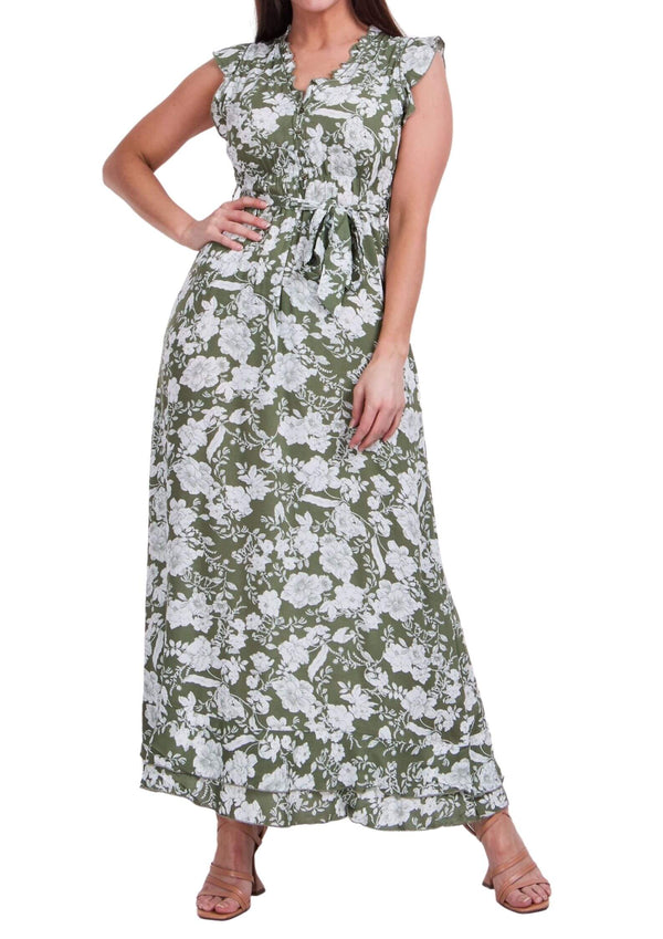 Trilly Maxi Dress in Sage Print  Frangipani Living frangipani-living2.myshopify.com