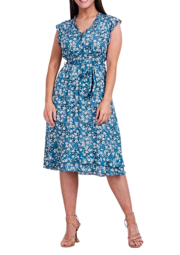 Trilly Midi Dress in Blue Daisy Print  Frangipani Living frangipani-living2.myshopify.com