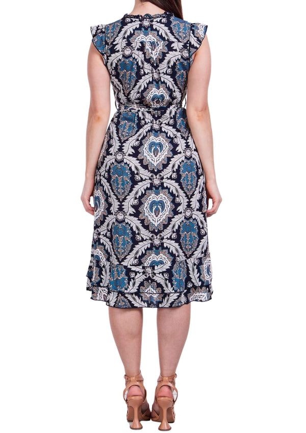 Trilly Midi Dress in Blue Print  Frangipani Living frangipani-living2.myshopify.com