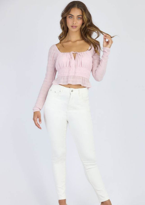 Zoe Long Sleeve Top in Blush